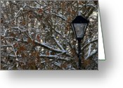 Misty Prints Prints Greeting Cards - Lamp Greeting Card by Paul  Mealey