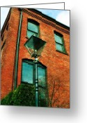 Pdx Art Greeting Cards - Lamp Post Greeting Card by Cathie Tyler