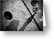 Bricks Greeting Cards - Lamp with Shadow Greeting Card by David Bowman