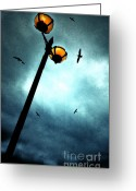Upright Greeting Cards - Lamps With Birds Greeting Card by Meirion Matthias