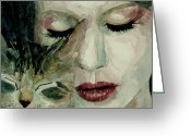 Singer Painting Greeting Cards - Lana Del Rey and a friend  Greeting Card by Paul Lovering