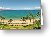 Hanalei Beach Greeting Cards - Lanai and Molokai Greeting Card by Jim Chamberlain