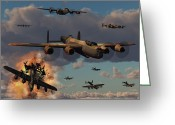 Bombers Greeting Cards - Lancaster Heavy Bombers Of The Royal Greeting Card by Mark Stevenson