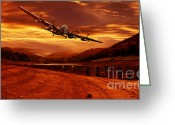 Merlin Greeting Cards - Lancaster Over Ouzelden Greeting Card by Nigel Hatton