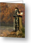 Guinevere Greeting Cards - Lancelot and Guinevere Greeting Card by Daniel Eskridge