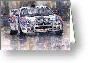 Sport Painting Greeting Cards - Lancia 037 Martini Rally 1983 Greeting Card by Yuriy  Shevchuk