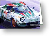 2008 Greeting Cards - Lancia Stratos Alitalia Rally Catalonya Costa Brava 2008 Greeting Card by Yuriy  Shevchuk