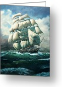 Galleons Greeting Cards - Land Ho Cutty Sark Greeting Card by Colin Parker