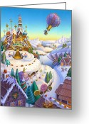 Hot Air Balloon Mixed Media Greeting Cards - Land of Sweets Greeting Card by Anne Wertheim
