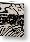 White Reliefs Greeting Cards - Land Sea Sky In Black and White Greeting Card by Caroline Street