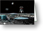 Astronomical Digital Art Greeting Cards - Landing at Aristarchus City Greeting Card by Bill Wright