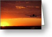 Jet Greeting Cards - Landing into the Sunset Greeting Card by Andrew Soundarajan