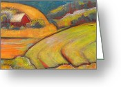 Chic Greeting Cards - Landscape Art Orange Sky Farm Greeting Card by Blenda Tyvoll