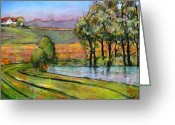Farm Greeting Cards - Landscape Art Scenic Fields Greeting Card by Blenda Tyvoll