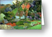Gauguin; Paul (1848-1903) Greeting Cards - Landscape at Pont Aven Greeting Card by Paul Gauguin