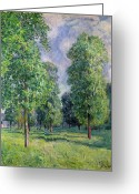 Signed Greeting Cards - Landscape at Sevres Greeting Card by Alfred Sisley