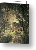 River Banks Greeting Cards - Landscape Greeting Card by Charles Francois Daubigny