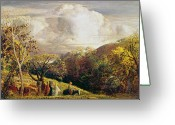 Sunset Scenes. Painting Greeting Cards - Landscape figures and cattle Greeting Card by Samuel Palmer