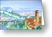 Medeival Greeting Cards - Landscape in Tuscany with Medieval village  Greeting Card by Trudi Doyle