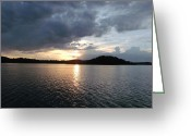 Sanctified Greeting Cards - Landscape Lake at Sunset Greeting Card by Brian  Maloney