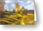 Canvas Drawings Greeting Cards - Landscape Greeting Card by Lyubomir Kanelov
