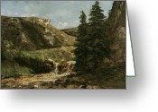 Mountainous Greeting Cards - Landscape near Ornans Greeting Card by Gustave Courbet