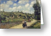 Country Lane Greeting Cards - Landscape near Pontoise Greeting Card by Camille Pissarro