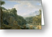 Ancient Tomb Greeting Cards - Landscape of Ancient Greece Greeting Card by Pierre Henri de Valenciennes