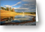 Western Sky Greeting Cards - Landscape Of Yellowstone Greeting Card by Philippe Sainte-Laudy Photography