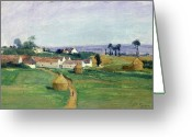 Hay Painting Greeting Cards - Landscape Greeting Card by Victor Vignon