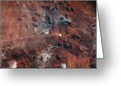 Space.planet Greeting Cards - Landscape Viewed From Space Greeting Card by Stockbyte