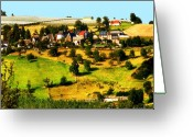 Gold Mountain Mixed Media Greeting Cards - Landscape with apple yards in Limoges France Greeting Card by Wino Evertz