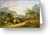Mountainous Greeting Cards - Landscape with figures and cattle Greeting Card by James Leakey