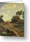 Labour Greeting Cards - Landscape with Haywagon Greeting Card by Valentin Ruths