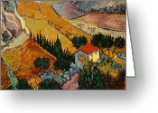 1889 Greeting Cards - Landscape with House and Ploughman Greeting Card by Vincent Van Gogh