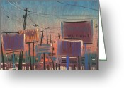 Urban Pastels Greeting Cards - Landscape with Rectangles Greeting Card by Donald Maier