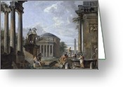 Mit Greeting Cards - Landscape with Roman Ruins Greeting Card by Giovanni Paolo Panini