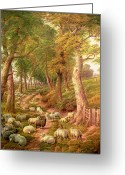 Path Greeting Cards - Landscape with Sheep Greeting Card by Charles Joseph