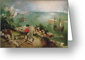 Galleon Greeting Cards - Landscape with the Fall of Icarus Greeting Card by Pieter the Elder Bruegel