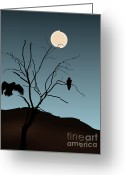 Black Greeting Cards - Landscape with Tree Vultures and Moon Greeting Card by Dave Gordon