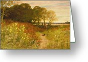 Fence Gate Greeting Cards - Landscape with Wild Flowers and Rabbits Greeting Card by Robert Collinson