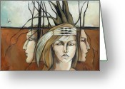 Headdress Greeting Cards - Landscaped Headdress Greeting Card by Jacque Hudson-Roate
