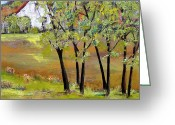 Hill Painting Greeting Cards - Landscapes Art - Hill House Greeting Card by Blenda Tyvoll