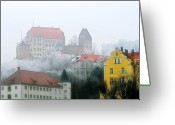 Distant Greeting Cards - Landshut Bavaria on a Foggy Day Greeting Card by Christine Till