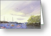 Watercolor Greeting Cards - Langley Inlet Greeting Card by Barry Jones