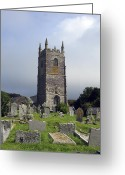 Graveyards Greeting Cards - Lansallos Church Cornwall Greeting Card by Kurt Van Wagner
