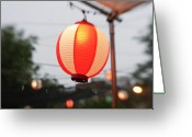 Arts Culture And Entertainment Greeting Cards - Lantern At Ginza Festival Greeting Card by Seeing Is Believing.