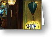 Entrance Door Greeting Cards - Lanterns at a Gift Shop Entrance Greeting Card by Skip Nall