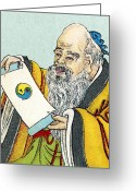 Lao Greeting Cards - Lao Tse, Chinese Philosopher Greeting Card by Sheila Terry