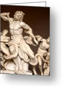 Biting Greeting Cards - Laocoon and Sons Greeting Card by Ellen Henneke